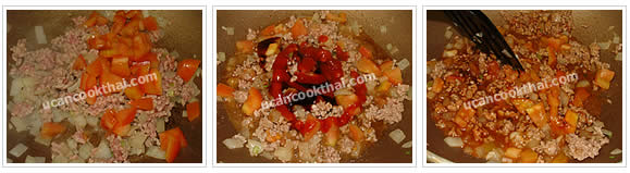 Preparation for Deep-fried Egg with Ground Pork Sauce: No.5 Add tomato and season, stir fry all ingredients until ground pork is cooked