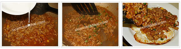 Preparaton for Deep-fried Egg with Ground Pork Sauce: No.5 Pour flour water into the sauce, stir quickly, add sliced green onion and stir well