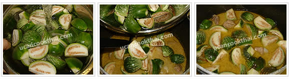 Preparaton for Pork Ribs Green Curry: No.6 Add cut Thai eggplants and stir well