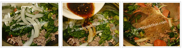 Preparation for Spicy Mung Bean Noodles and Sausages Salad: No.7 Put all vegeatble in the mixing bowl, add dressing and stir throughly