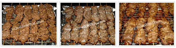 Preparation for BBQ Pork on Skewer: No.6 Turn the skewers over after 15 minutes, brush with coconut cream and grill until the pork is browned