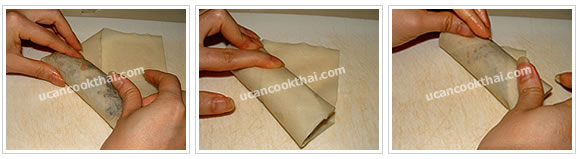 Prepare wrapping: Roll to form an envelope, seal top corner with paste