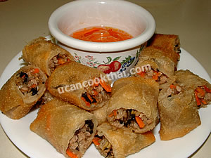 Serving spring roll: Place whole spring rolls or cut in pieces, and serve with dipping sauce