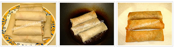 Prepare spring roll: Wrap, deep fry, and drain on paper towel