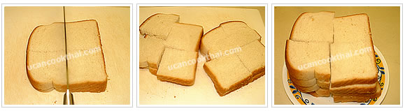 Preparation for Fried canapes with pork spread: No.1 Cut sliced bread into quarter