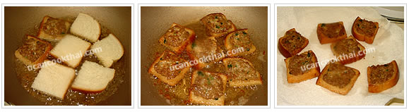 Preparation for Fried canapes with pork spread: No.5 Fry each side until golden brown and drain on paper towel
