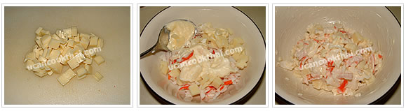 Preparation for fried wonton: Cut cheese, mix cheese, imitation crabmeat, and mayonnaise together