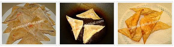 Preparation for fried wonton: Heat oil, deep fry until crisp and golden brown, drain on paper towel