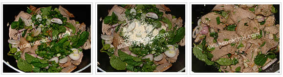 Preparation for spicy pork salad: Mix roasted pork with prepare vegetable, spicy dressing, and ground roasted rice, toss thoroughly