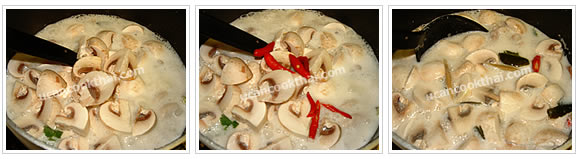 Preparation for Chicken in Coconut Soup: No.7 Add sliced mushroom and chilies, stir well and turn off the heat