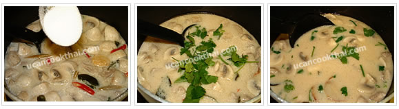 Preparation for Chicken in Coconut Soup: No.8 Season and taste, then add chopped cilantro and stir well