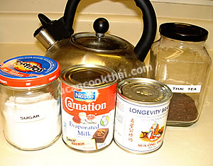 Thai Ice Tea Ingredients: Thai tea, sugar, condensed milk, evaporated milk, hot water