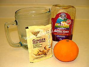Ginger with honey ingredients: Instant ginger, orange honey water