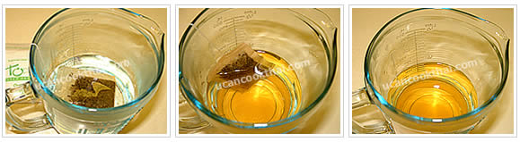 Preparation for green tea with honey: Place tea bag in a cup with hot water, allow tea to set for 5 minutes, remove and discard tea bag