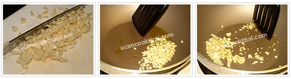 Preparation for shrimp paste fried rice: Mince garlic, heat oil, and fry garlic until fragrant