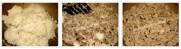 Preparation for salted black olive fried rice: No. 5 Add cooked rice, stir to mix thoroughly, the remove from heat