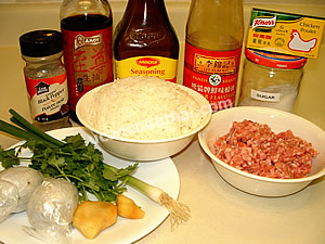 Pork Congee Ingredients: cooked rice, ground pork, oyster sauce, soy sauce, ground pepper, chicken broth, cilnatro, green onion ginger, century eggs, water