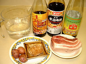Sweet pork ingredients: streaky pork, palm sugar, shallots, and sauces