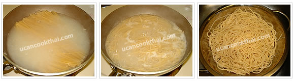 Preparation for chicken green curry spaghetti: Boil water, add spaghetti, boil for 15 minutes, drain and rinse in cold water