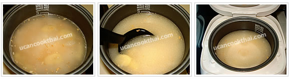 Preparation for boiled chicken on rice: Add 3 cups the broth onto the rice, stir thoroughly, and cook in a rice cooker