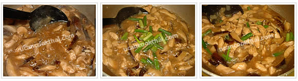Preparation for chicken in gravy on rice: Mix corn flour with water, pour into sauce, stir quickly, add green onion, stir quickly, and remove from heat