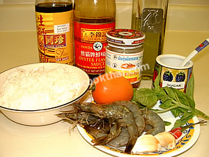 Prawn with lobster paste fried rice ingredients: fresh prawns, garlic, chillies, sweet basil, tomato, and sauces