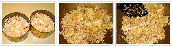 Preparation for Crab Fried Rice: No.4 Drain water from crab meat cans, add crab meat in a wok, season with thin soy sauce and sugar, then stir thoroughly
