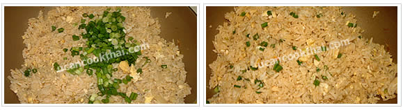 Preparation for Crab Fried Rice: No.6 Add sliced green onion, stir well, then remove from heat