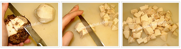 Preparation for Taro Steamed in Rice: No.2 Peel taro skin and cut into small dices