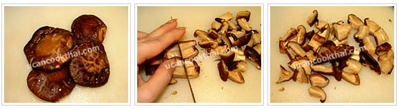 Preparation for Taro Steamed in Rice: No.3 Slice mushroom into 1/2 inch length