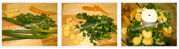 Preparation for Spicy Chicken in Rice Sauce: No.2 Coarsely slice onion, cilantro, and ginger, then put in a blender