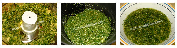 Preparation for Spicy Chicken in Rice Sauce: No.3 Well blend all vegetables and add in the pot, stir well, and put in a bowl