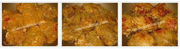 Preparation for Spicy Chicken in Rice: No.7 When shallot is getting cook, add marinated chicken, fry both side until almost cook, remove from wok