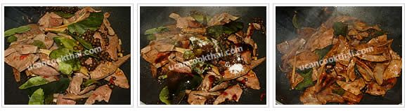 Preparation for Stir-fried spicy pork liver: No.7 Add all herbs, season, stir-fry quickly and remove from heat