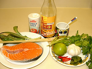 Steamed Salmon in Lime Sauce Ingredients: Fresh salmon, kaffir lime leaves, eryngo plant, cilantro, lemon grass
