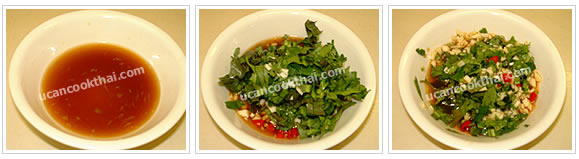 Preparation for lime sauce: Mix lime juice, thin soy sauce, and sugar in a bowl. Add minced garlic, sliced chillies, sliced eryngo and cilantro, stir and taste