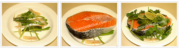 Preparation for steamed salmon: Divide all vegetables into 2 parts. Place first part on dish, place salmon steak, and place remaining vegetables on salmon steak. Top with sliced lime