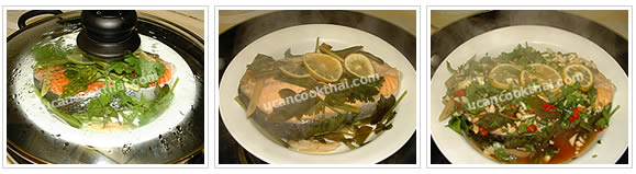 Preparation for steamed salmon: Steamed for 15 minutes, pour out all water in the dish, then pour lime sauce over and steam for 5 minutes more