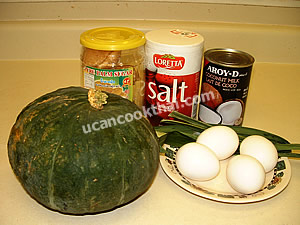 Thai Pumpkin Custard Ingredients: Kabocha, coconut milk, eggs, palm sugar, salt, pandanus leaves