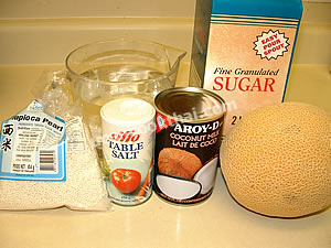Sweet Tapioca with Cantaloupe & Coconut Milk Ingredients