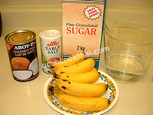 Sweet Bananas in Coconut Cream Ingredients