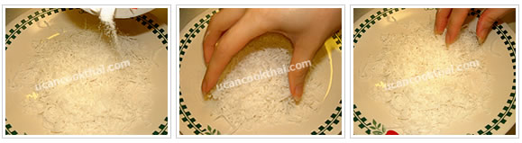 Preparation for Thai Taro Cake: No.6 Prepare topping by mixing shred coconut and salt together
