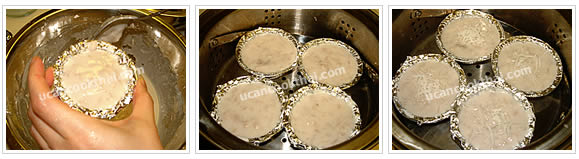 Preparation for Thai Taro Cake: No.7 Put taro mixture in each cup, top with shred coconut, and place in the steamer