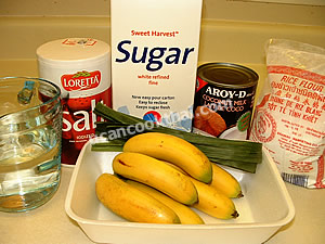 Baby Banana in Syrup Ingredients: baby banana, sugar, water, pandanus leaves, coconut cream, salt, rice flour