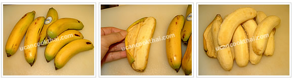 Preparation for Baby Banana in Syrup: No.3 Peel baby bananas' skin