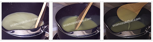 Preparation for Sangkaya: No.6 Stir the mixture clockwise frequently until the mixture is thick, remove from heat
