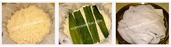 Preparation for Sweet Glutinous Rice: No.2 Drain glutinous rice on sieve cloth, place pandanus leaves on top and put in steamer