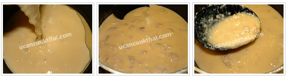 Preparation for Taro Coconut Custard: No.8 Add oil in a pot, when oil is hot, add custard mixture, stir constantly until the mixture is thickened