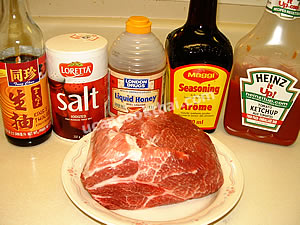 Sweet & Sour Pork Honey Ingredients - pork collar, thin soy sauce, seasoning soy sauce, ketchup, salt, honey