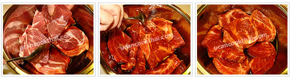 Preparation for Sweet & Sour Pork with Honey: No.3 Marinate pork collar in mixing sauce for 2 hours or refrigerate over night